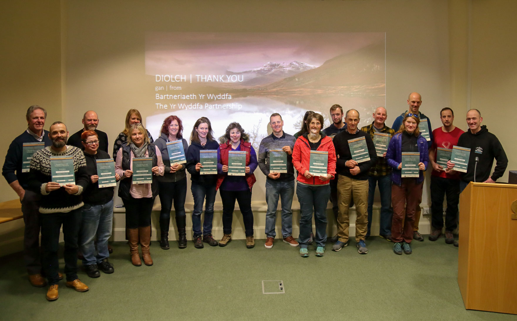 Snowdonia Ambassadors with certificates